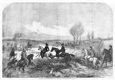 HUNTING Magpie Hawking Ancient Sport - Antique Print 1856