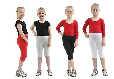 Girls 3/4 Length Capri Cropped Length Soft Cotton Leggings Boys Age 1-13 Years