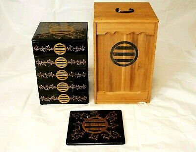 Jubako Oju w/ Mon Antique Japanese Black Lacquered Wooden  Box Taisho Period