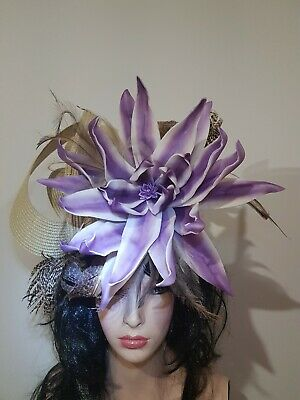Fascinator hatinator hat races wedding costume formal tan - one off design