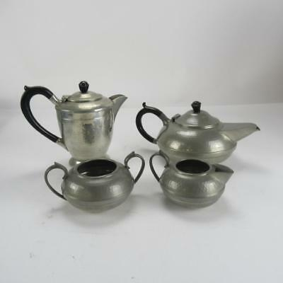 Vintage 4 Piece Hall Bros of Sheffield Hand Beaten Hammered Pewter Tea Set