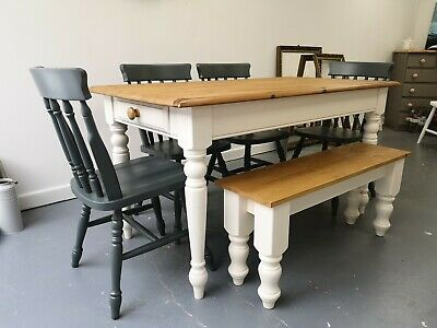 6 Seater Farrow and Ball Solid Pine Farmhouse Dining Table, 4 Chairs & Bench