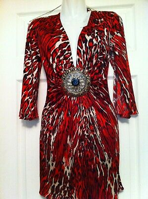 Sky Brand Red Black White Leopard Kimono Style Abstract 100% Silk Dress Xs