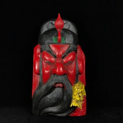 """15"""" Chinese antique wooden handcarved Coloured drawing guan gong mask statue"""