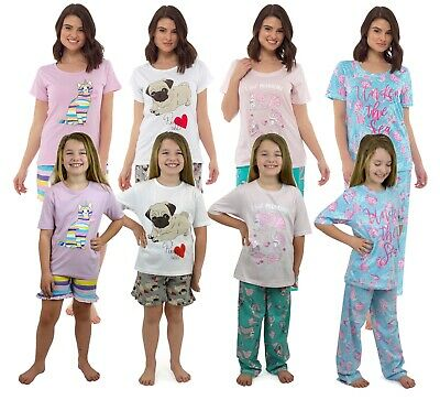 Womens Girls Mini Me Matching Pyjamas Set Mermaid Pug Unicorn Mother Daughter