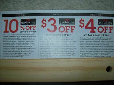 ❤NEW! (2 SHEETS) 6 RED LOBSTER COUPONS + Weekday Deals Seafood Restaurant 7/6/19