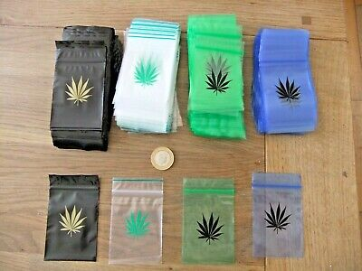 100 Grip Seal Baggies, Printed Baggies 60 X 80 Mm, Cannabis Leaf Print Baggies