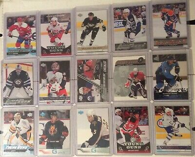 UD Young Guns 15 Card Lot Hellebuyck, Ehlers,Skinner,Staal,Vrana,McDavid Chec