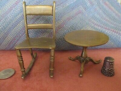 Miniature Brass Rocking Chair And Tilt Top Table Antiques