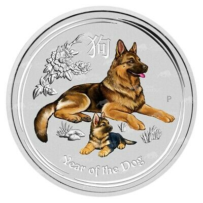2 oz 2018 Perth Mint Lunar Year of the Dog Colourized Silver Coin