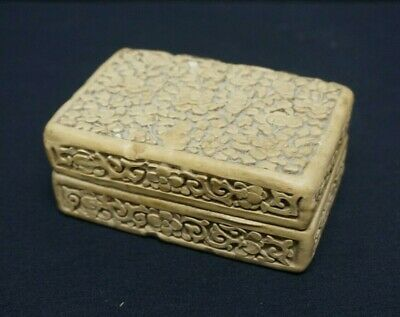Antique Chinese Carved White Cinnabar Lidded Box