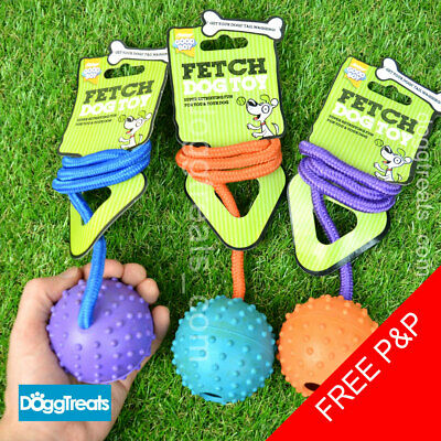 BALL WITH ROPE DOG TOY Medium or Large - Fetch Rubber Dog Toy and on a Rope