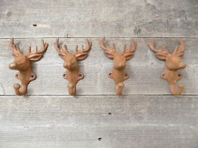 4 Rustic Elk Deer Moose Head Hooks Cast Iron Coat Hook Rack Restoration Hardware
