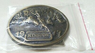 Vintage 1977 Hesston National Finals Rodeo Ltd Ed Collectors Buckle Used VGLN