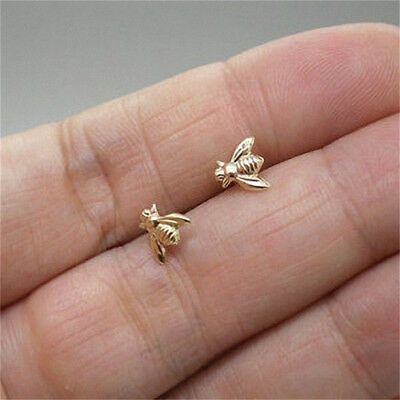 Silver/Gold/Rose Gold Mini Tiny Honey Bee Bumblebee Earrings Ear Stud Gift WE