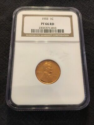 1955 Lincoln Cent Ngc Pr-66 Rd - Proof Wheat Penny Red - Certified Slab - 1C