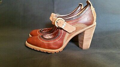 Timberland Earthkeepers Chauncey Brown Leather Mary Jane Buckle Heels Us 9W Uk7