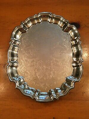 Vintage Leonard Silver Plate Serving Tray Scalloped Rim Oval Platter 14.5x11 in