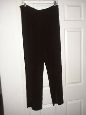 Chicos Travelers Womens Slinky Casual Pull On Pants 3 XL 16 Brown Stretch Long