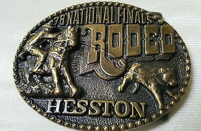 Vintage 1978 Hesston National Finals Rodeo Ltd Ed Collectors Buckle Used VGLN