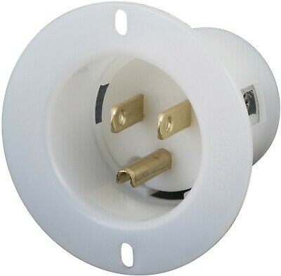 5278-C 15 Amp, 125 Volt, Flanged Inlet Receptacle, Straight Blade, In...