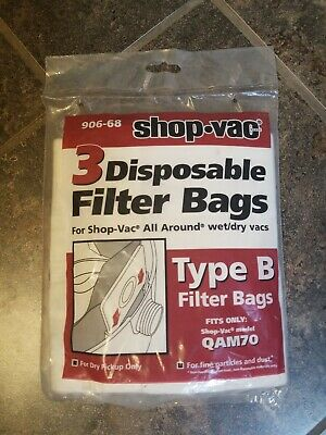 Shop Vac 906 68 Type B 3 Disposable Filter Bags 90668 Qam70 Dry vac