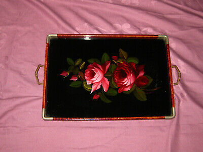 Tablett antik Glas Hinterglasmalerei Rosen art deco 1920/30 Servieren
