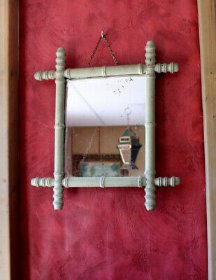 Antique Faux Bamboo Timber Medium Mirror French 1920's 30s Chateau Country House