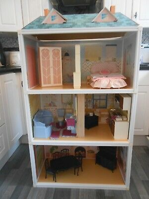 vintage huge SINDY DOLLS HOUSE furnished,hostess trolley,cooker,bed,dining set