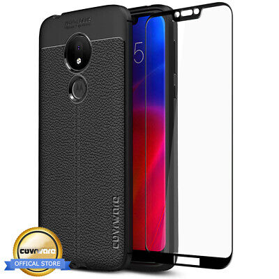 Moto G7 Power TPU Leather Case Cover Tempered Glass Screen Protector Slim Skin