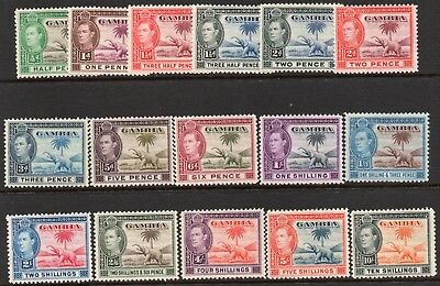 GAMBIA 1938  Sg150 - Sg161 SET of 16 in fine  M/MINT condition