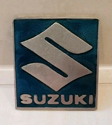 Vintage SUZUKI MOTORCYCLE COMPANY Pewter Belt Buckle Turquoise Teal Blue Green
