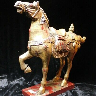 Vintage Asian Wooden Gilded Horse , Hand carved / Tang Style
