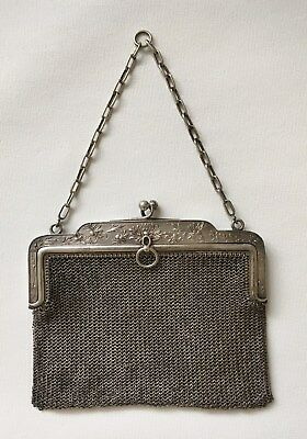 Antique French 0.800 Silver Ladies Chatelaine Chain Mail Purse Hallmarked c.1900