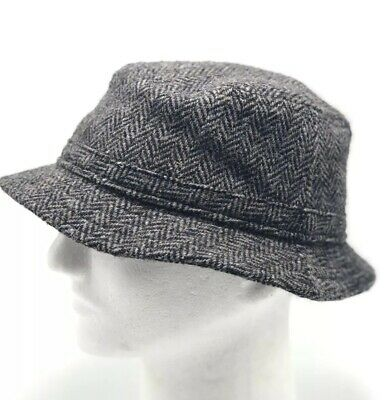 fcb6c1c26d38f Lands End Harris Tweed Wool Walking Bucket Hat Gray Mens Size Medium
