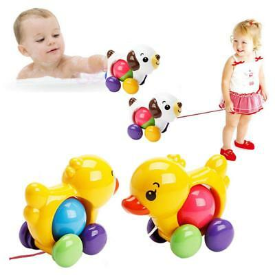 Traditional Pull Along Duck Plastic Toddler Kids Baby Learn Walk Toy Funny WE