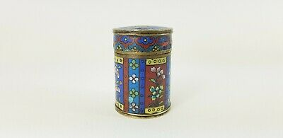 Small Antique Round Chinese Cloisonne Trinket Box