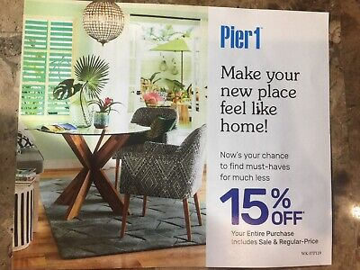Pier 1 Imports One Coupon 15% Off Entire Purchase Coupon—expires 9/30/2019