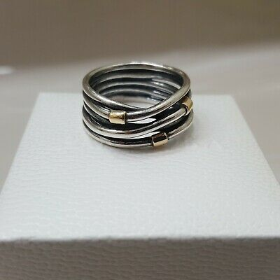 91ceb094c PANDORA 14K Yellow Gold & Silver Two Tone Woven Rope Bands Ring RETIRED #  190383