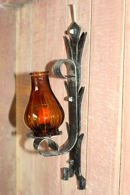 A French Vintage Rustic Wooden and Cast Iron Wall candle with glass shade