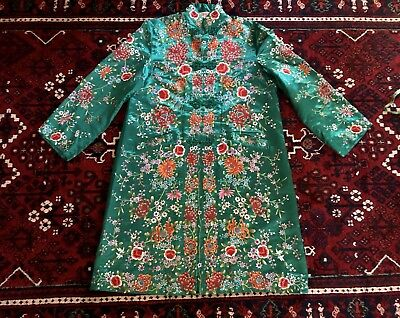 Gorgeous Rare PLUM BLOSSOMS Green Silk Chinese Embroidered Embroidery Shirt Robe