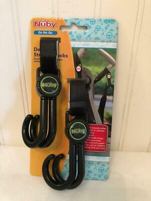 NEW Nuby on the Go Deluxe Stroller Hooks - Set of Two