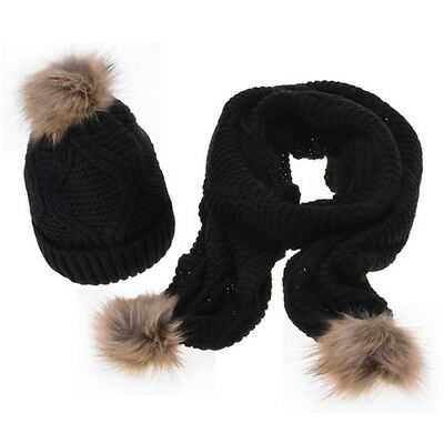 Outdoor Women Knitted Hat Scarf Sets Fur Pompom Hat Thick Soft Cotton Gift WE