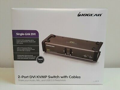 IOGEAR GCS1102 2PORT DVI KVMP SWITCH W//CABL AUDIO MIC USB 2.0 TAA COMPLIANT