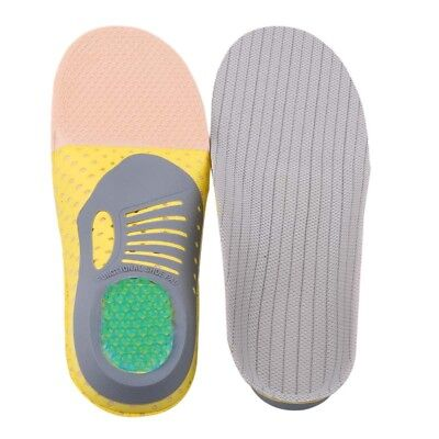 Unisex Gray Correction Flat Foot Comfortable Breathable Shock Absorber Insoles W