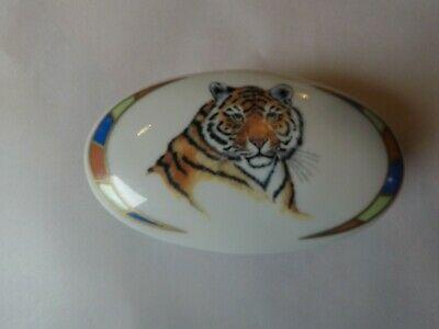 Lynn Chase Tiger Raj Trinket Box 1994 Vintage 24K Gold Trim. Signed By Artist!!!