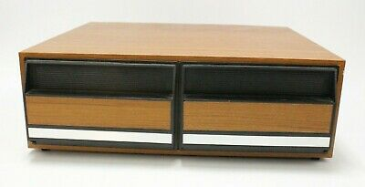 Vintage VHS Cassette Two Drawer Storage Cabinet Holds 24 Stackable Faux Wood