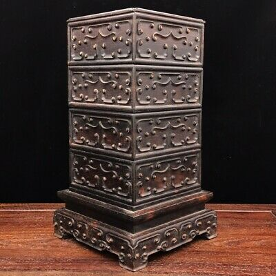 Chinese old antique huanghuali wooden handcarved three layers fInkpad box
