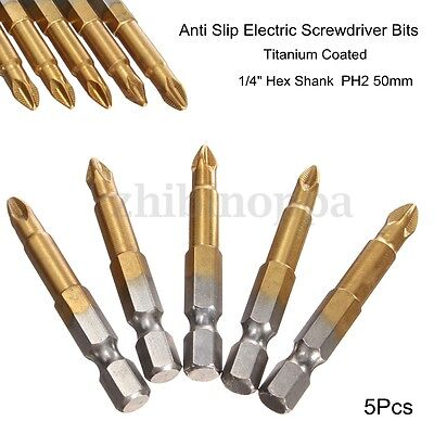 "5pcs 50mm Long Screwdriver Bits Titanium coated Pozi drive Bit Set  1/4""  ❤"