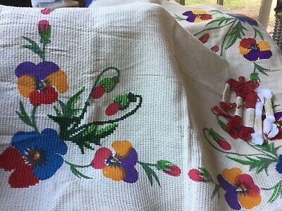 Pair of unfinished Embroidery projects 75cm square tablecloths Undamaged